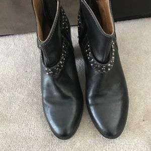 Black with jewels upper leather bootie boots.